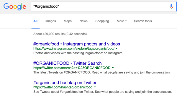 Use Google search to research hashtags.