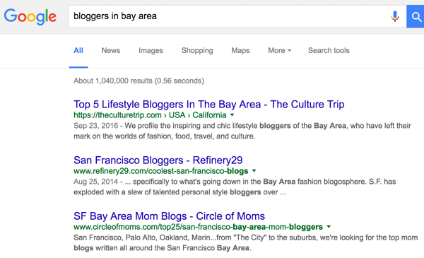 Find articles that mention relevant local bloggers in your geographic area.