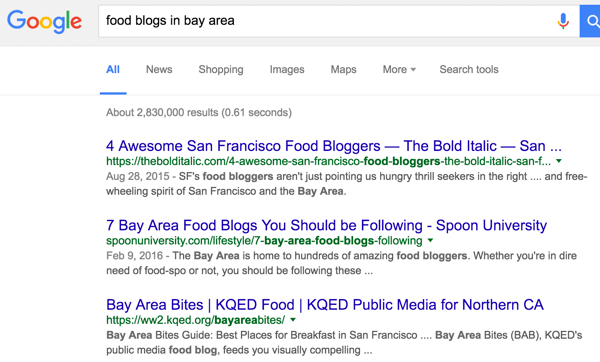 Add a relevant keyword to filter your Google search.