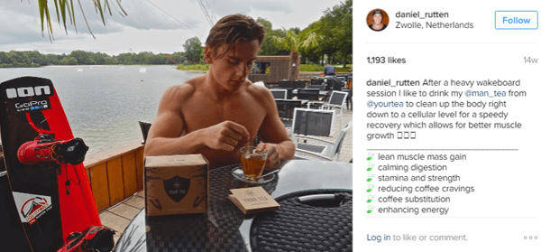 Athlete Daniel Rutten poses with Man Tea and highlights the benefits for his Instagram followers.