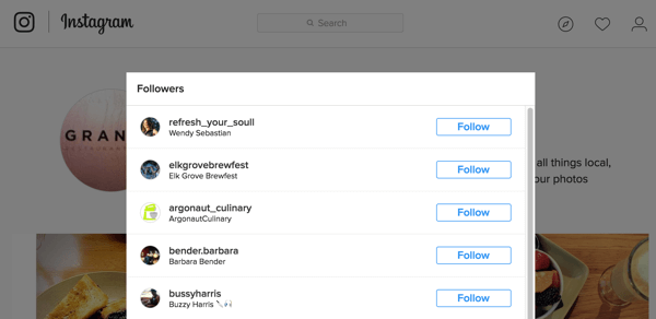 Here's how your follower list is displayed on Instagram.