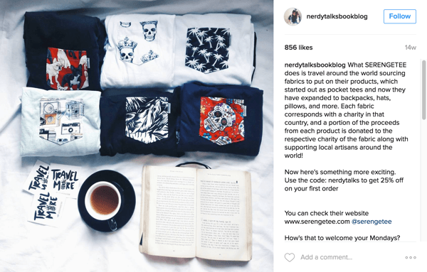 Nerdy Talks Book Blog features Serengetee products and informs followers about the cause on Instagram.