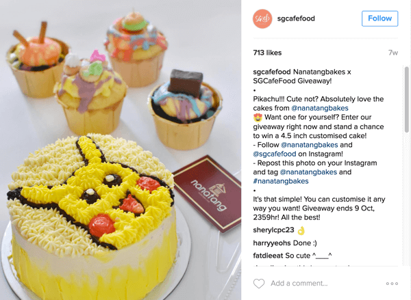 Singapore's Café Food promoted Nanatang Bakes' giveaway through their Instagram account.