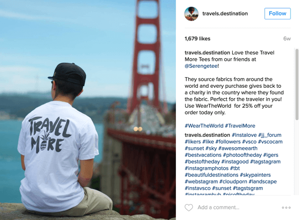 Travels Destination features Serengetee products and informs followers about the cause on Instagram.
