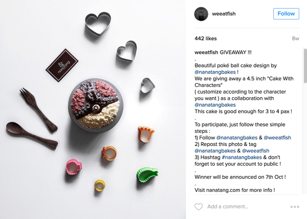 Foodie Instagrammer @weeatfish promoted Nanatang Bakes' giveaway.