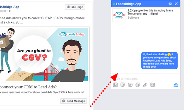 Start a conversation with customers in Messenger with a Facebook destination ad.