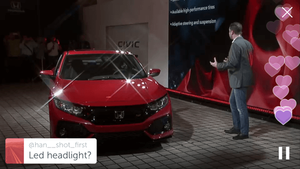 Honda used Periscope to reveal their 2017 Civic SI prototype.
