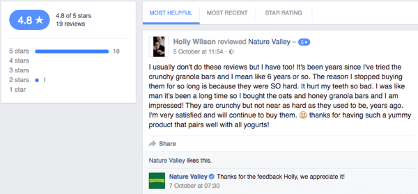 A Nature Valley customer leaves a customer review on the company's Facebook page.
