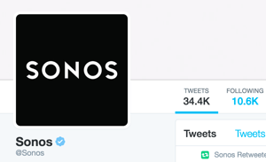 The Sonos Twitter account is verified and shows the blue Twitter verified badge.