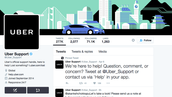 Uber has a separate Twitter handle for Uber Support.