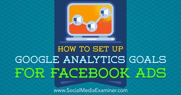 Einrichten von Google Analytics-Zielen für Facebook-Anzeigen von Tammy Cannon im Social Media Examiner.