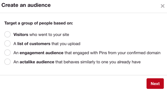 Pinterest's audiences work similarly to Facebook's custom audiences.