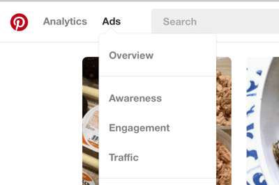 You can find the Pinterest Ads section in the top-left navigation bar.