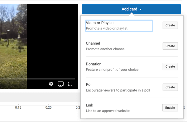 You can choose from five types of YouTube cards.