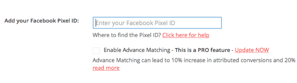 Paste your pixel ID from Facebook in the PixelYourSite plugin.