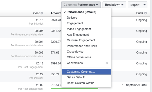 Add a new reporting column in the Facebook Ads Manager.