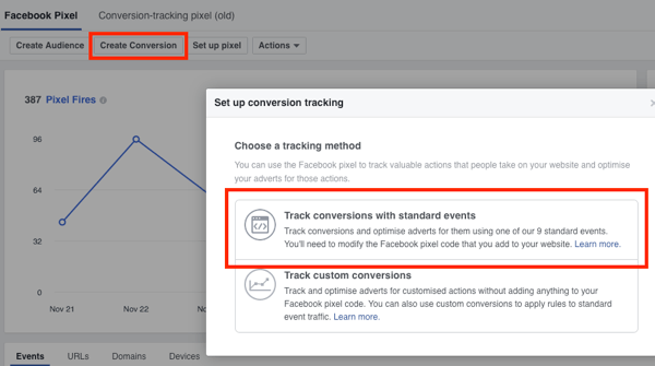 Select the Track Conversions With Standard Events option for Facebook conversion tracking.