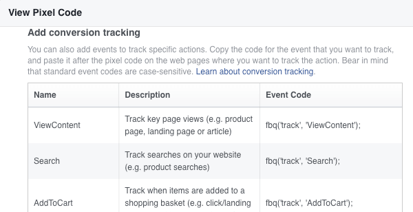 There are nine standard events you can track for Facebook ads.