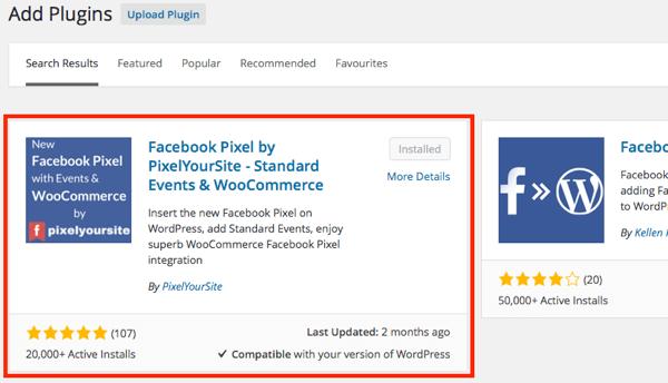 Find the PixelYourSite plugin in your WordPress dashboard.