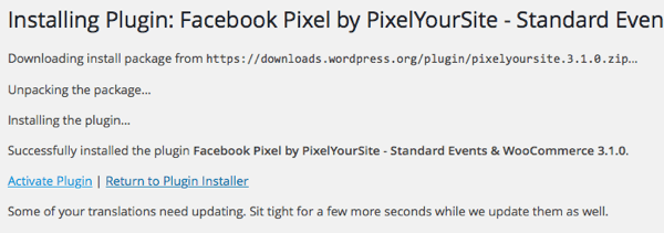 Install and activate the PixelYourSite plugin.