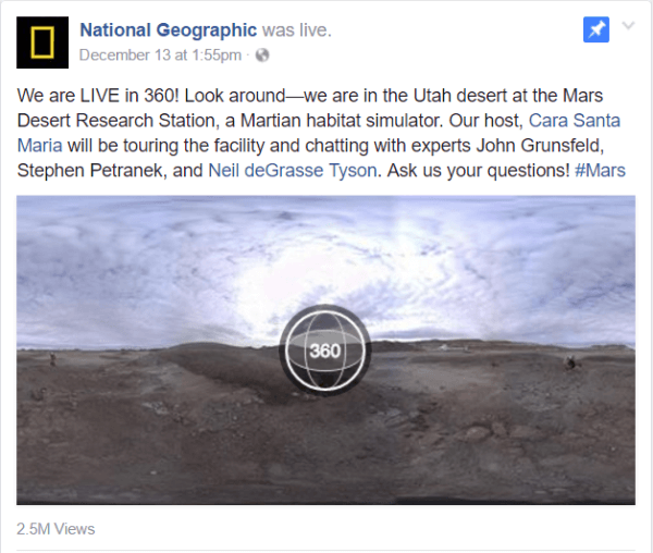 Facebook launched Live 360 video this week with a National Geographic report from the Mars Desert Research Station facility in Utah.