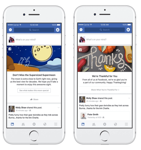 Facebook introduced a new marketing program to invite people to share and talk about events and moments that are happening in their communities and around the world.