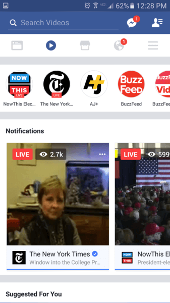 Facebook expands rollout of Live Video Tab and the new video section to more US mobile users.