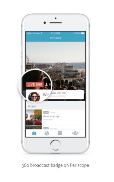 Periscope is testing Live 360 video with select partners and will roll out this feature more broadly in the coming weeks.