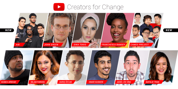 YouTube introduces new Creators for Change ambassadors and resources.