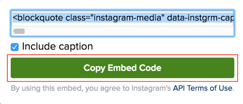 Click the green button to copy the Instagram post embed code.