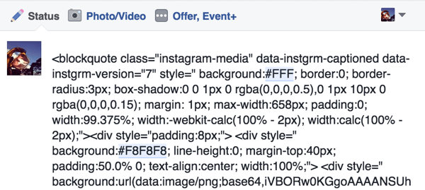 Paste the embed code from your Instagram post into a Facebook status update.