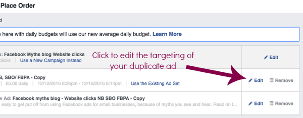 Edit the settings of a duplicate Facebook ad set.