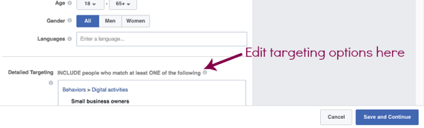 Edit the targeting of a duplicate Facebook ad set.