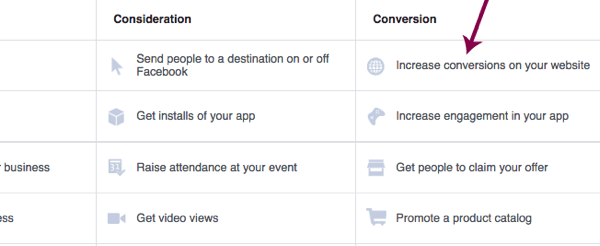 Choose the objective for your Facebook ad campaign.