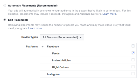Choose the placement for your Facebook ad.