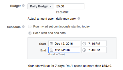 Set up a budget for your Facebook ad.