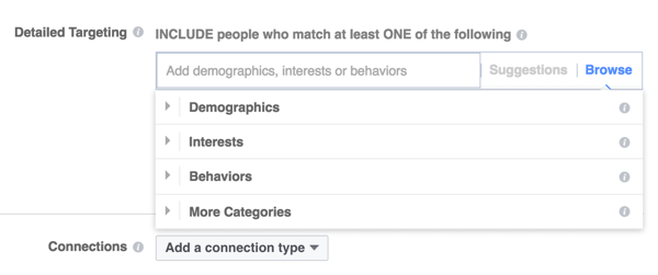 Facebook offers three main targeting categories.