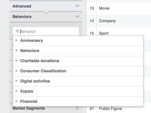 Click Advanced to add behaviors and demographics in Facebook Audience Insights.