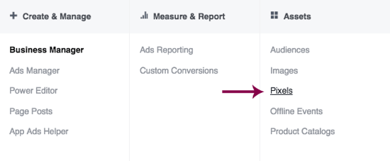 Navigate to the Pixels page from the header bar in Facebook Ads Manager.