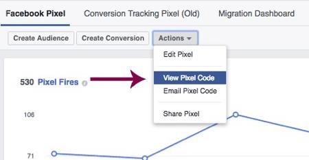 Click View Pixel Code to access your unique Facebook pixel.
