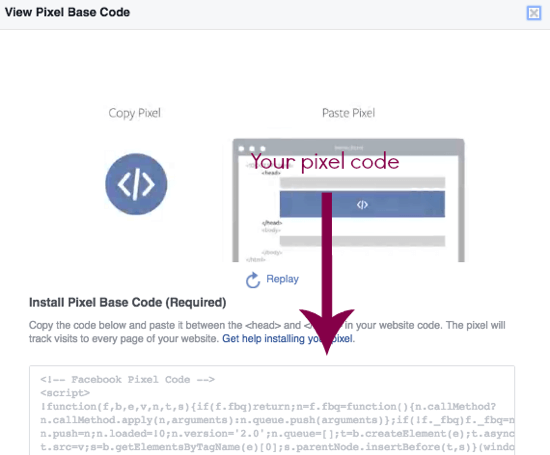 Copy your Facebook pixel code directly from this page.