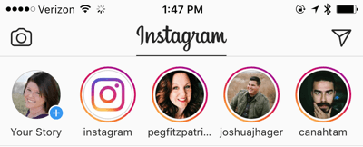 Click the Your Story profile photo to start an Instagram story.