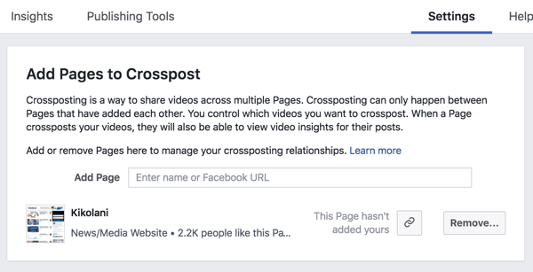 Set up a cross-posting relationship between two Facebook pages.