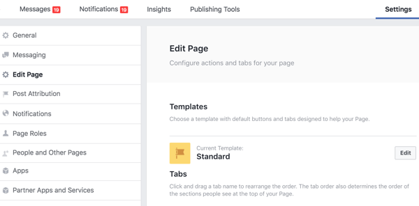 The Edit Page section of your Facebook page Settings is where you can reorder your tabs.