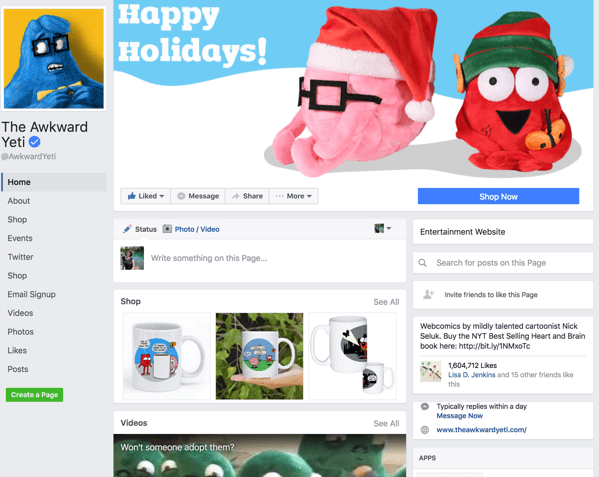 This is the new Facebook page design.