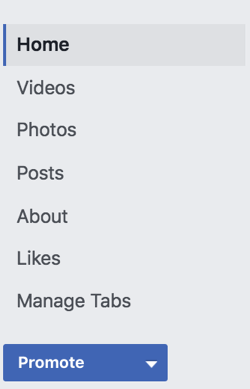 Click Manage Tabs in the left sidebar of your Facebook page.