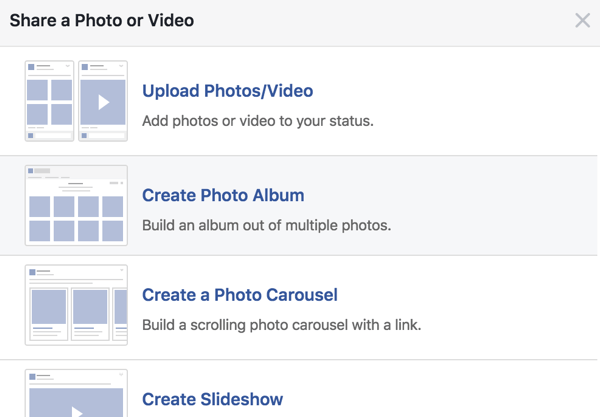 These are your options for Share a Photo or Video.