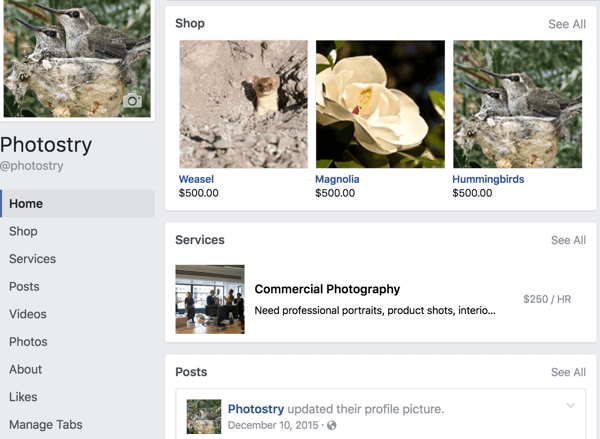 This is what the Facebook page layout looks like if you position your Shop and Services tabs first.