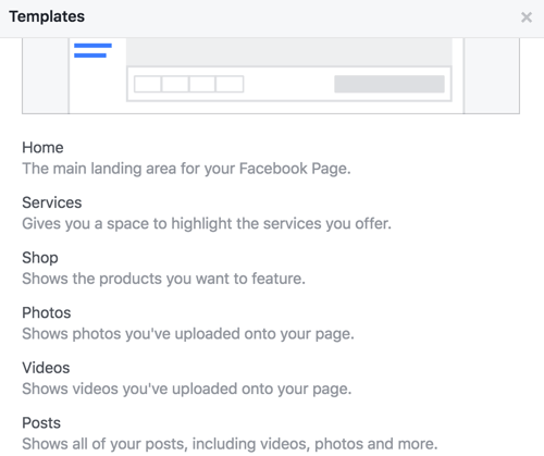 Get details on the tabs for your Facebook page's template.