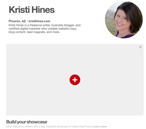 Find out if you have the Pinterest Showcase feature.